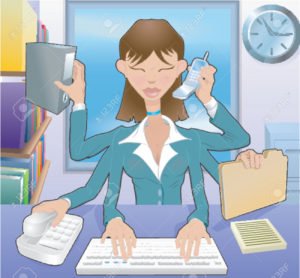 Multitasking career woman